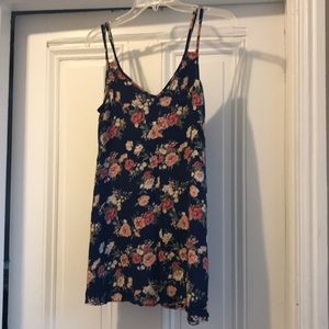 Navy dress with pink flowers